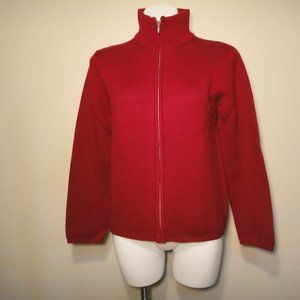 Eddie Bauer Full Zip Red Wool Cardigan Sweater
